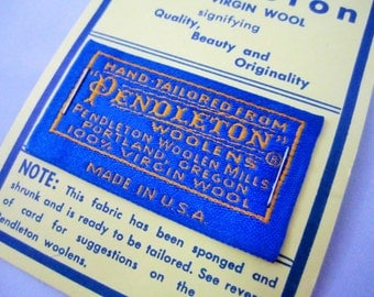Pendleton new old stock loose tag on card   sewing notions   replacement tag