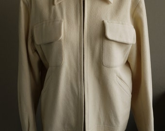 Vintage 1950 Jacket- Mens Cream Yellow Casual Ricky Wool Jacket with Twin Flap and Side Pockets