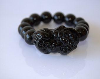 Black Tourmaline stretch Bracelet with Pixiu, very high quality and rare stone 14mm. Pixiu 40mm long 10mm tall. Free Size!
