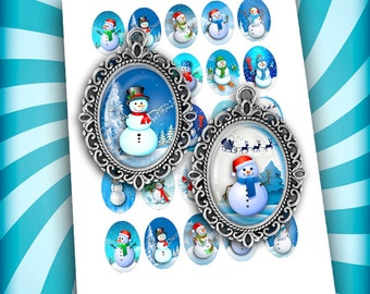 Snowman Oval Images 30x40mm 22x30mm for Jewelry Making - Digital Collage Sheet - Instant Download
