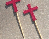 12 Rose Pink Cross Cupcake Toppers Cake Decorations First Holy Communion Baptism Confirmation