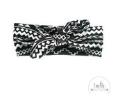 Black and White Aztec Knotted Bow Headband / Knot Tied Headwraps / Knotted Turban / Newborn Baby Girl Kids Women Children Adult Photo prop