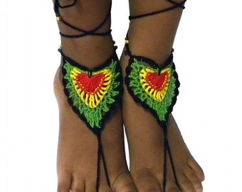 Rasta beach sandals, barefoot sandals, crochet lace heart, beach shoes, reggae footwear