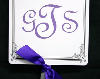 Personalized fan programs with color for weddings and special events