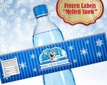 Frozen Melted Snow Label for Water Bottles