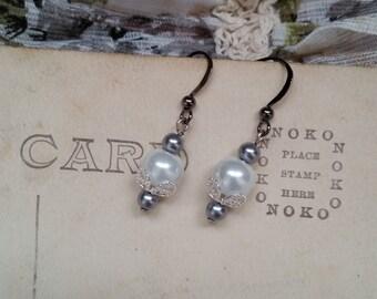 Victorian Steel Pearl Earrings, v.2