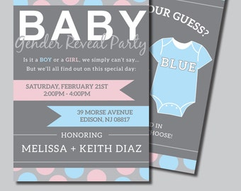 Gender Reveal Party Invitaitons, Printable PDF