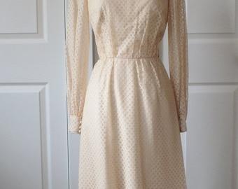 1950s Roger Freres of Paris Dress + Vintage 50s Cream Tea Length Lace Dress