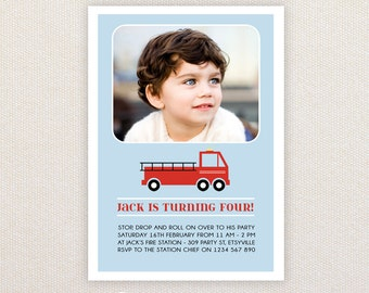 Boys Birthday Party Invitations. Red Fire Engine. I Customize, You Print.