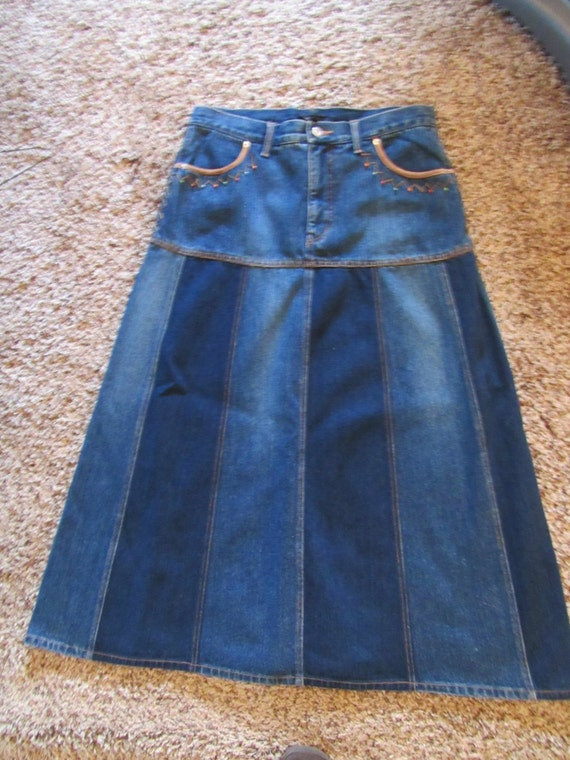 luisa spagnoli designer denim skirt with colorblock panels