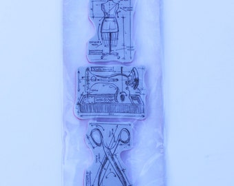 Tim Holtz Stampers Anonymous, Mini Blueprints Stamps, Sewing Stamps, Tim Holtz Sewing Stamps
