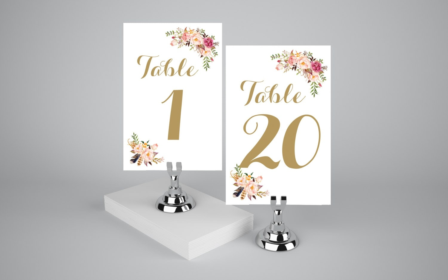printable table numbers 1 20 boho floral watercolor table
