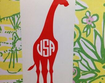 Giraffe Monogram Decal