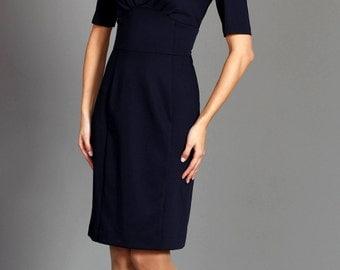 V neck pencil dress, office dress in dark blue color