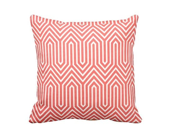 Standard Throw Pillow Cover Sizes : 7 Sizes Available: Coral Throw Pillow Cover by ReedFeatherStraw