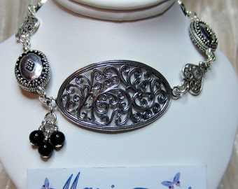 Antique silver filigree & Onyx bracelet