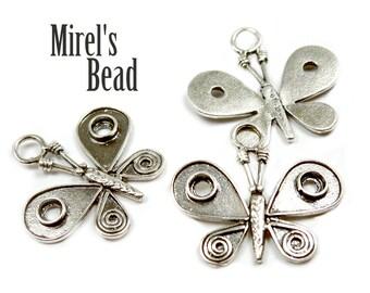 Large Sterling Silver Butterfly Pendant, Dark Sterling Silver Butterfly Charm, Oxidized Sterling Silver