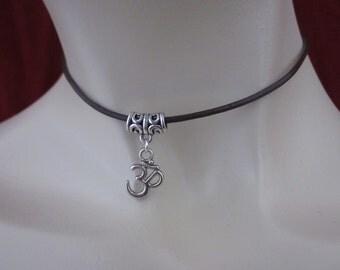 Leather choker, Ohm necklace, Om choker, leather ohm, leather jewellery, uk seller