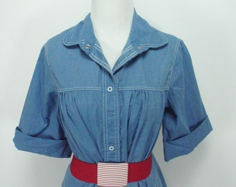 1970s does 1950s Buzz About by Rosemary Long A Line Denim Dress, Vintage Dress, 1970s dress, 1950s dress,  Dress, 1950s, 1970s, Denim Dress,