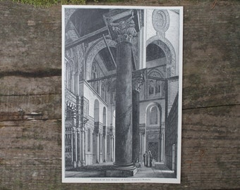 1893 - Muslim Mosque of Kala Antique Print - Bookplate from Great Races of Mankind