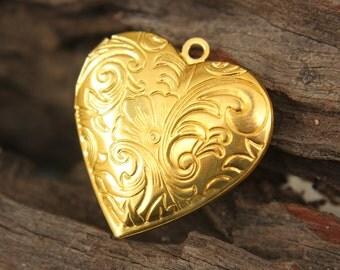 Heart Locket  - gold plated, vintage floral flourish photo locket / pendant