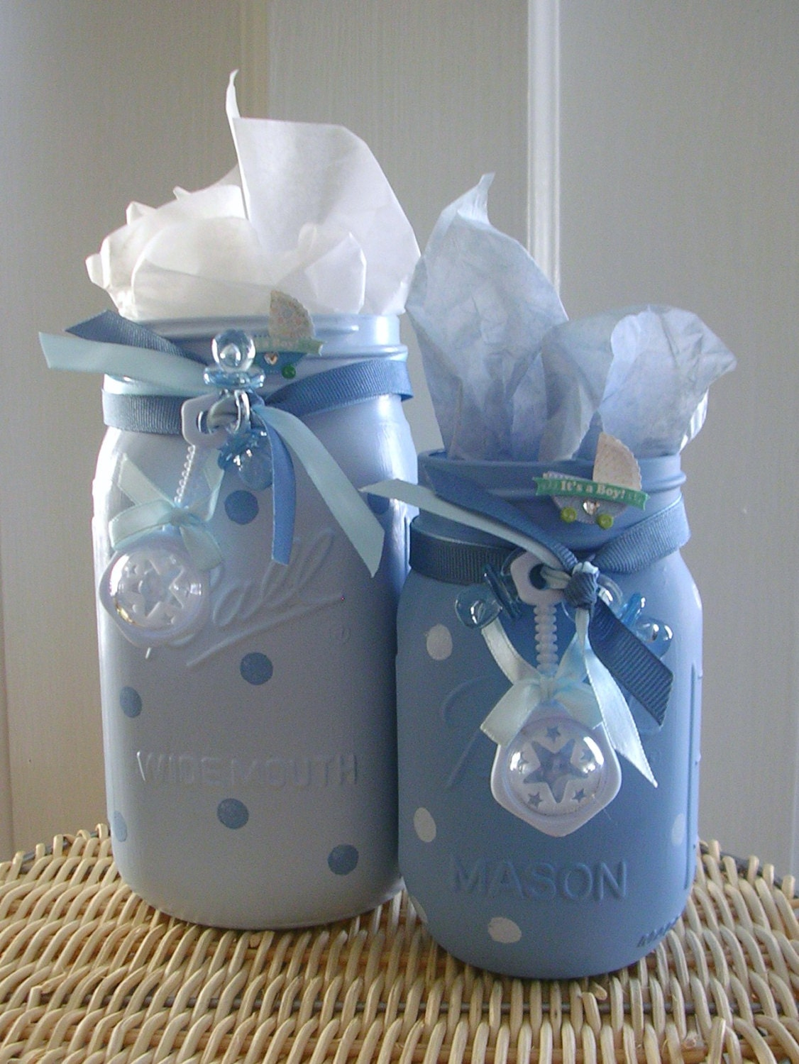 boy baby shower painted mason jars boy baby shower. Black Bedroom Furniture Sets. Home Design Ideas