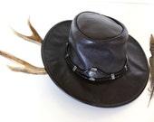 Vintage MINNETONKA Leather Hat *Boho Braid And Silver Concho Band  'Silverthorne' Style Festival Fashion -Size Medium