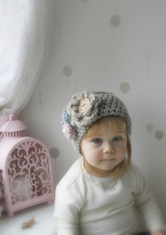CROCHET PATTERN bulky headband Britney with flowers (newborn, baby, toddler, child, adult sizes)