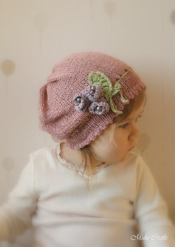 KNITTING PATTERN slouchy flower hat Hannah with crochet flowers and beads (newborn, baby, toddler, child, adult sizes)