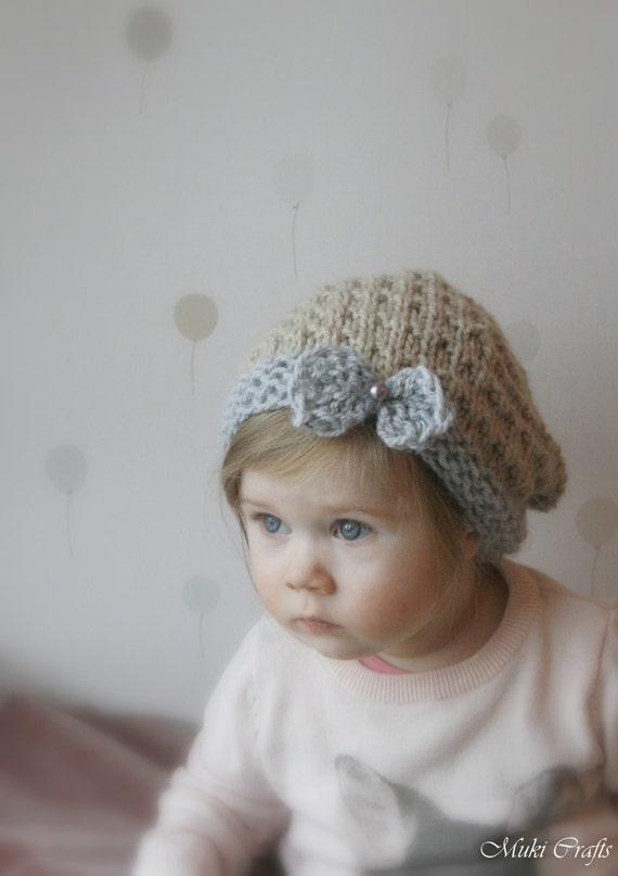 KNITTING PATTERN slouchy bow hat Ida (toddler, child, adult sizes)
