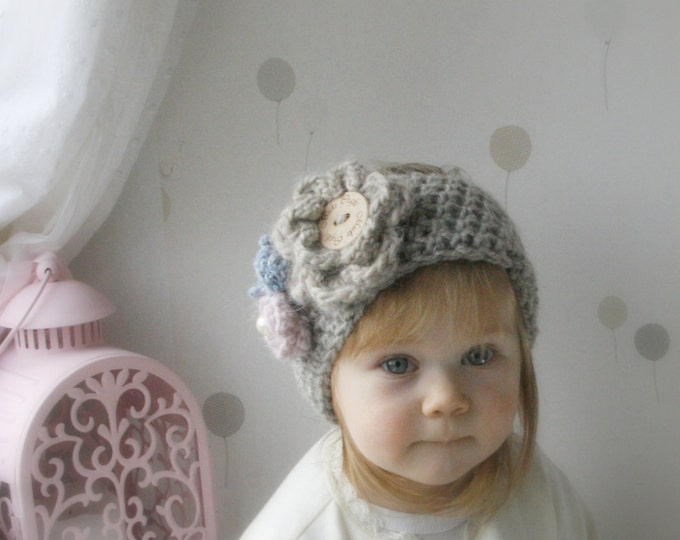 CROCHET PATTERN bulky headband Britney with flowers (newborn, baby, toddler, child, adult sizes)
