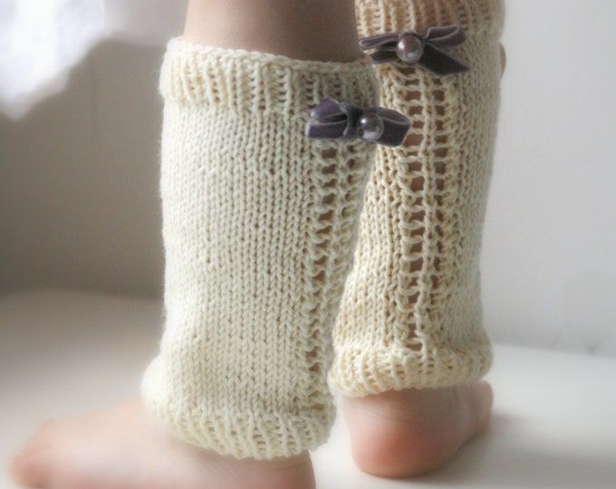 KNITTING  PATTERN basic lace leg warmers Pauline (newborn to child sizes)