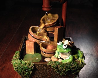 Frog Prince - Fairy Garden or Pond Miniature Sculpture With A Golden Crown On A Rustic Moss Covered Tabletop Fountain