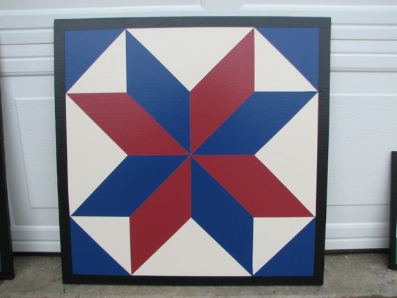 items similar to barn quilt  2x2  8 point star 2 colors on