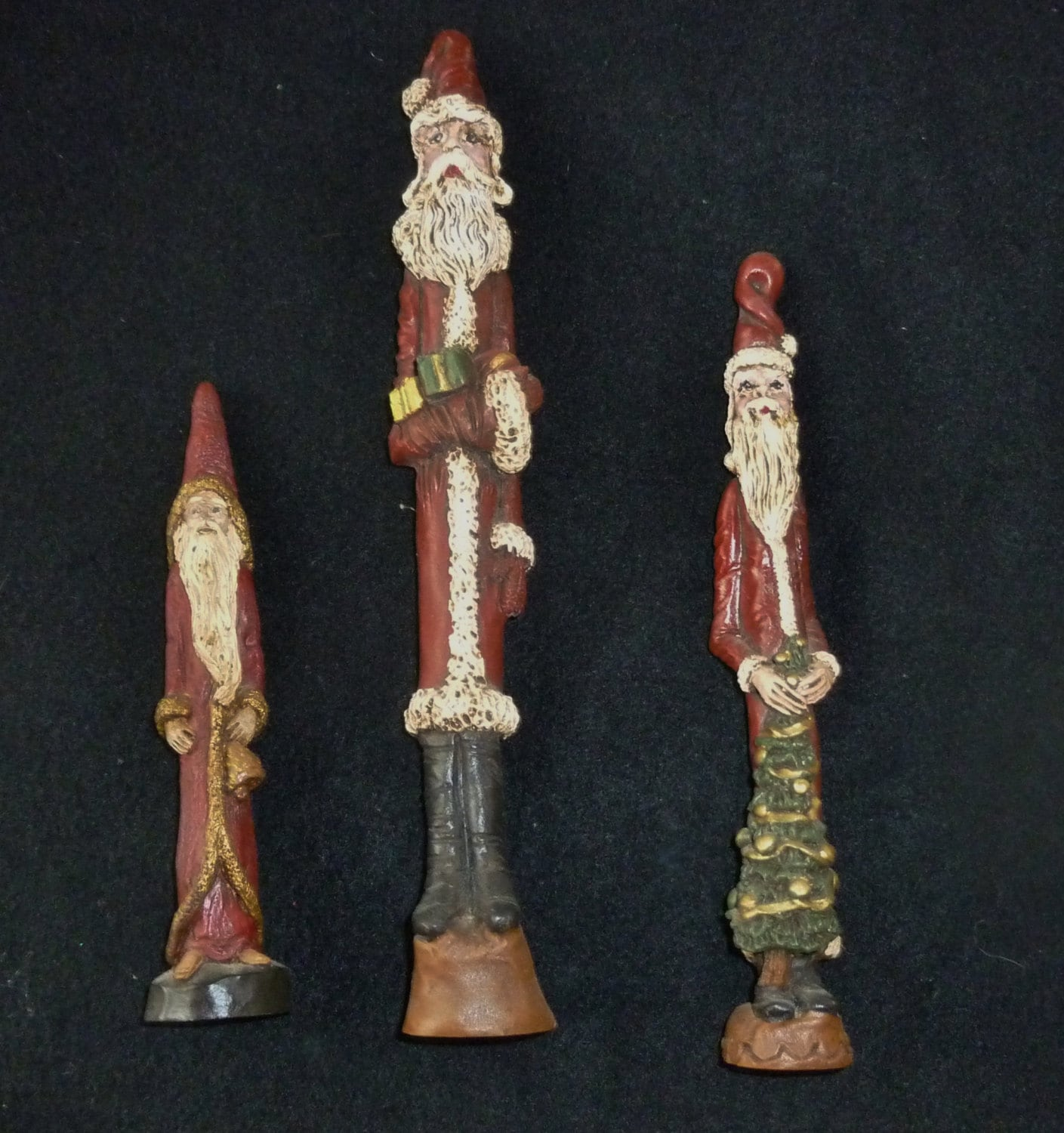 Vintage Santa Figurines Set Of 3 Folk Art Christmas Pencil