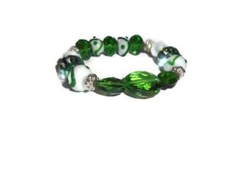 Green and White Bead Bracelet - Green Bracelet - White Glass Bracelet - Green Stretchy Bracelet - Lampwork Bracelet