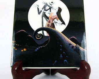 The Nightmare before Christmas Jack and Sally on Spiral Hill Ceramic Tile  Skellington collectible tim burton goth  mod.72