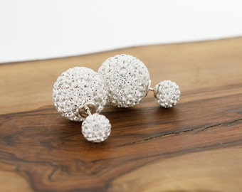 925 Sterling Silver Double Pave Crystal Earrings