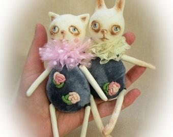 Paperclay art doll. Cat doll. Bunny doll. Vintage style. Naive art. Small dolls. Kitty doll. Hare. Rabbit. Interior doll. Miniature. Rococo.