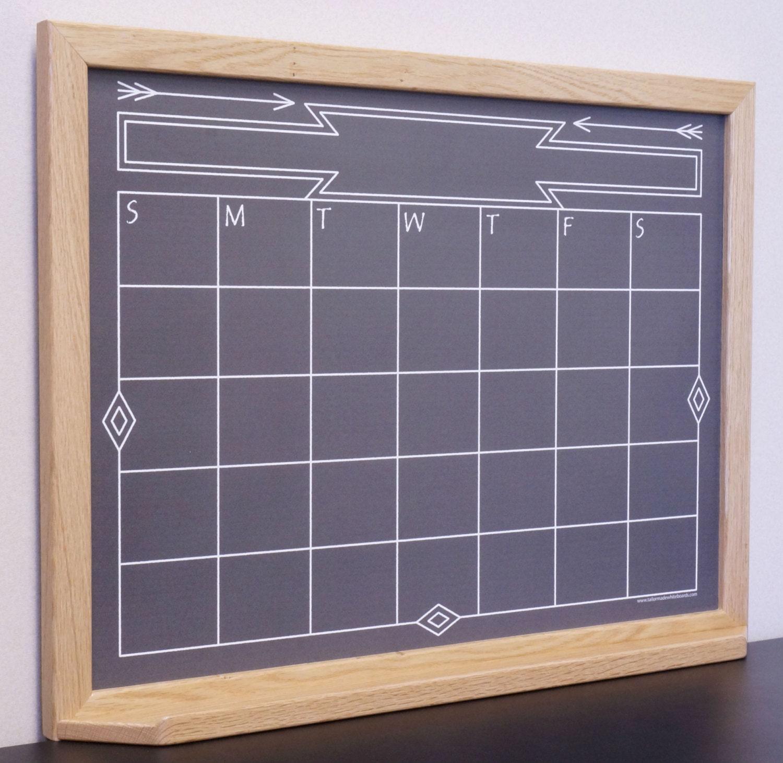 Chalkboard Calendar Framed : Black southwestern chalkboard calendar dry erase