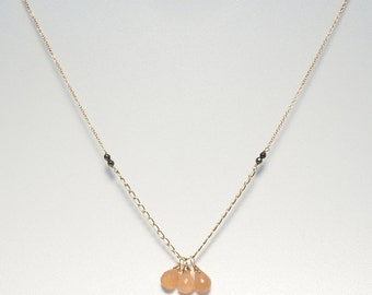 Necklace - Peach Moonstone, Pyrite and 14K Gold Filled Chain