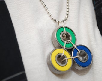 Brazil Skate Bearing Necklace - Skateboard Jewelry Made From Recycled Materials