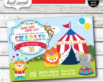 Printable Circus Birthday Invitation - Carnival, Lion, Clown, Monkey, Elephant