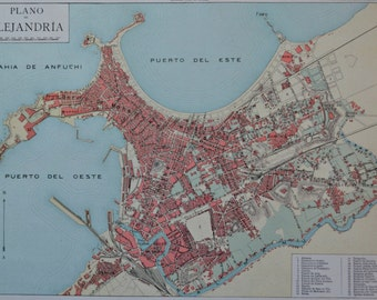 Alexandria map at the beginning of the 20th . Old book plate, 1910. Antique  illustration. 105 years lithograph. 9'4 x  12'5 inches.