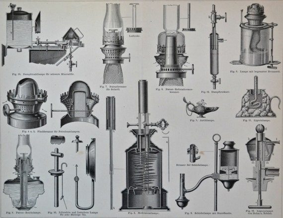 Antique lamps print. Old book plate, 1890. Antique illustration. 124 years lithograph. 9'4 x 11'7 inches.