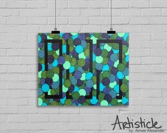Blue Geometric Art - Abstract Artwork - Teal Green Art - Beach Home Decor - Abstract Ocean Art - Modern Art - Sea Foam Green Art