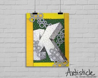 Monogram K Print - Letter K Art - Alphabet Artwork - Green Yellow Art - Initial Letter K - 3D Letter Art - Geometric Artwork - Modern Decor