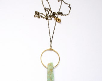 WATER | Russian Amazonite on Hammered Stamped Brass Hoop Necklace