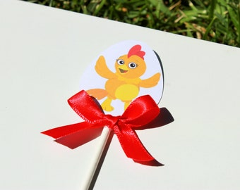 Chica Chicken - The Chica Show - cupcake toppers, set of 12