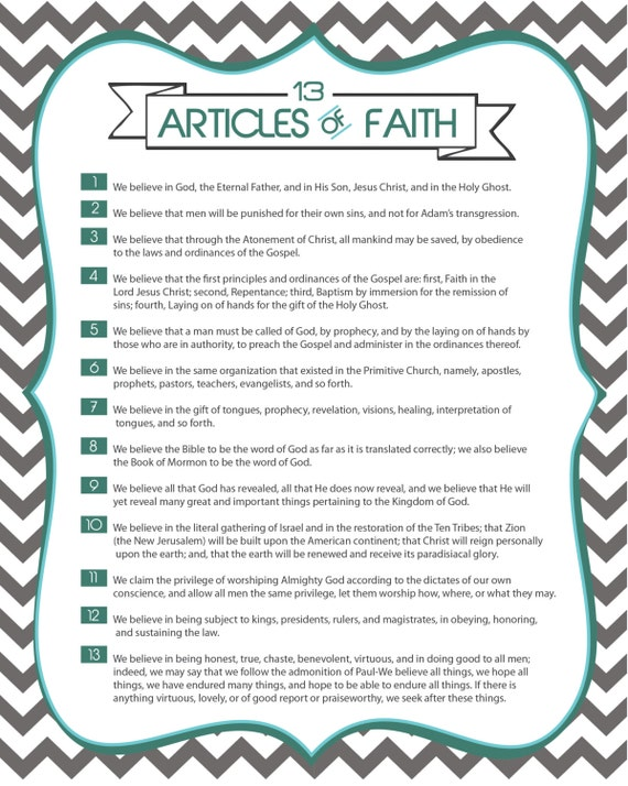Bewitching image with regard to 13 articles of faith printable